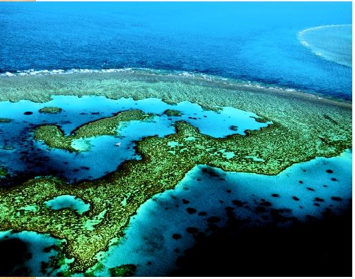 An aerial view of the Great Barrier Reef, between Cairns and Townsville, Australia.