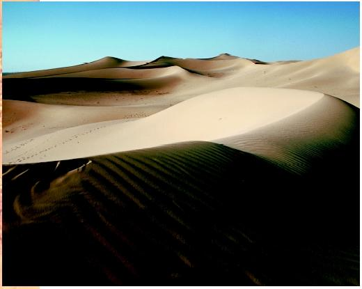 Shadows form on the El Oued dunes in the Sahara Desert in Algeria.