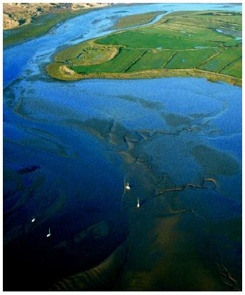 An aerial view of the sandy Ravenglass Estuary in Cumbria, England.