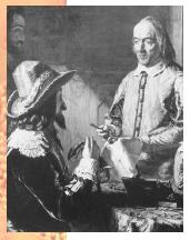 William Harvey (right) with Charles I (seated, left).