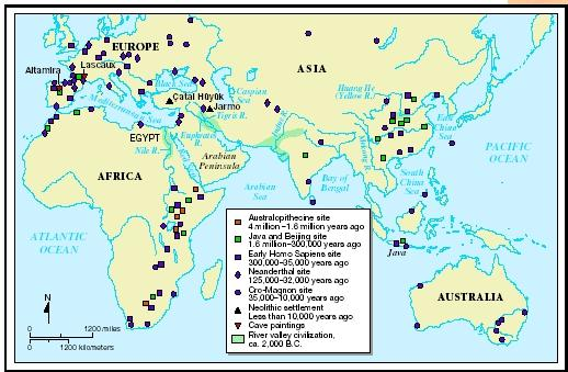 Sites of early civilizations.